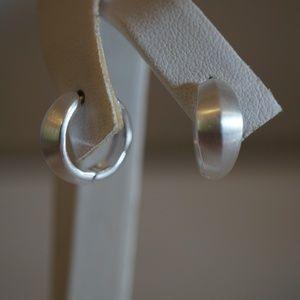 Sterling Silver Hinged Knife Edge Hoop Earrings